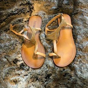 Fun flat sandal w/ silver accents